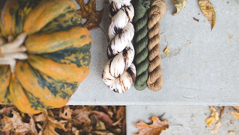 Different colors of hand-dyed yarn from Old Wire Road, founded by Ashley Wilson. Courtesy of Old Wire Road.