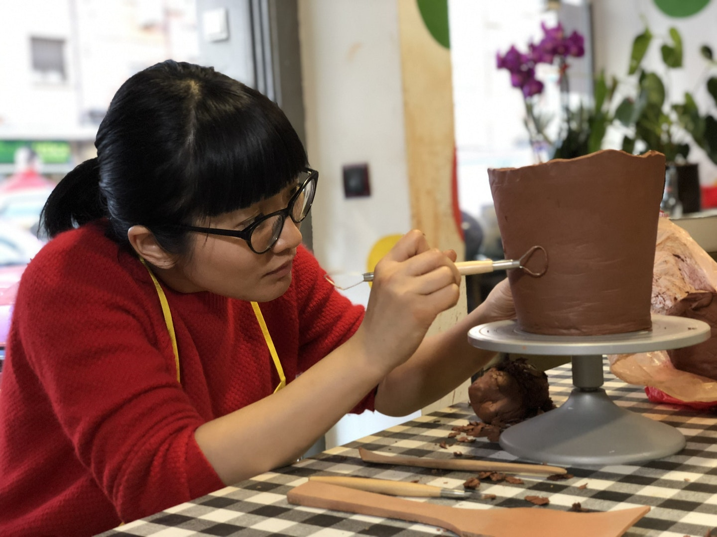 My first week at Ceramics class was spent working on a plant pot for my mint plant. Courtesy of Georgiana Phua.