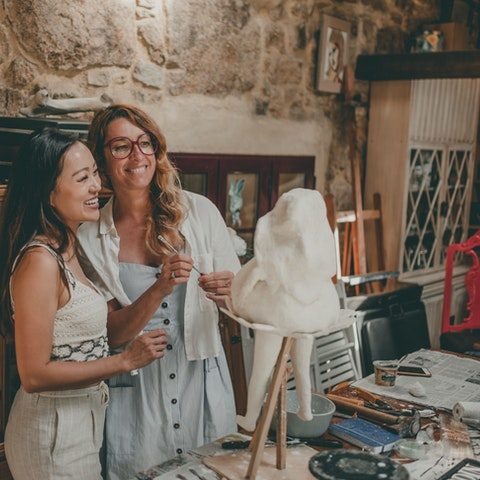 VAWAA guest Amy along with VAWAA Artist Iria at Iria's beautiful studio in Galicia, Spain. Photographed by Jose Troitinho