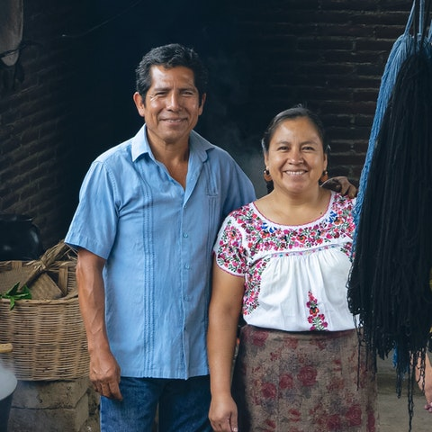 Zapotec Weavers and VAWAA Artists Jacobo and Maria at their studio in Teotitlan del Valle
