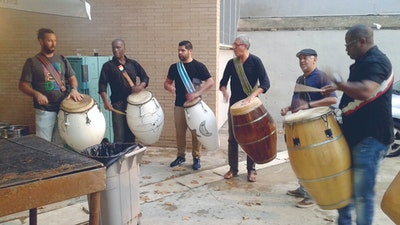 Practicing with artist friends on candombe drums