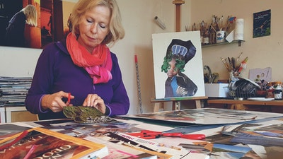 Learn how to make collages & photomontage portraits with Annette | Travel & Art Experience in Greece via VAWAA - Vacation with an Artist #vawaa #creativevacation #art #artist #travel #collage #inspiration #creativity #learn #DIY #greece