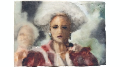 Female encaustic painting portrait | Learn the technique from Philadelphia based artist via Vacation with an Artist #art #artist #painting #philadelphia #wax #crafts #creativevacation #vawaa