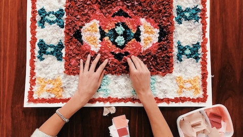 """""""""""""""We make stuff so that we can return back to who we really are. Creative beings."""""""" Read the full story and see more pics of this tissue paper mosaic on the VAWAA blog.   #vawaa #homedecor #art #artist #artwork #paper  #papercrafts  #paperart """""""