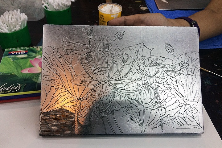 After etching the image on silver surface 720x480