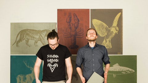 Jan and Ondrej with their 'Olegu' silk screen graphics. Courtesy of the artists.