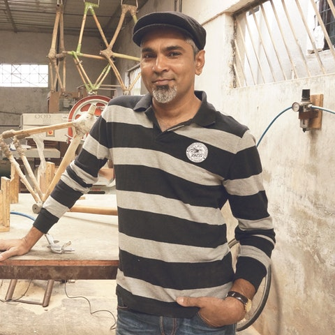 Learn bamboo bicycle making with Vijay in India.