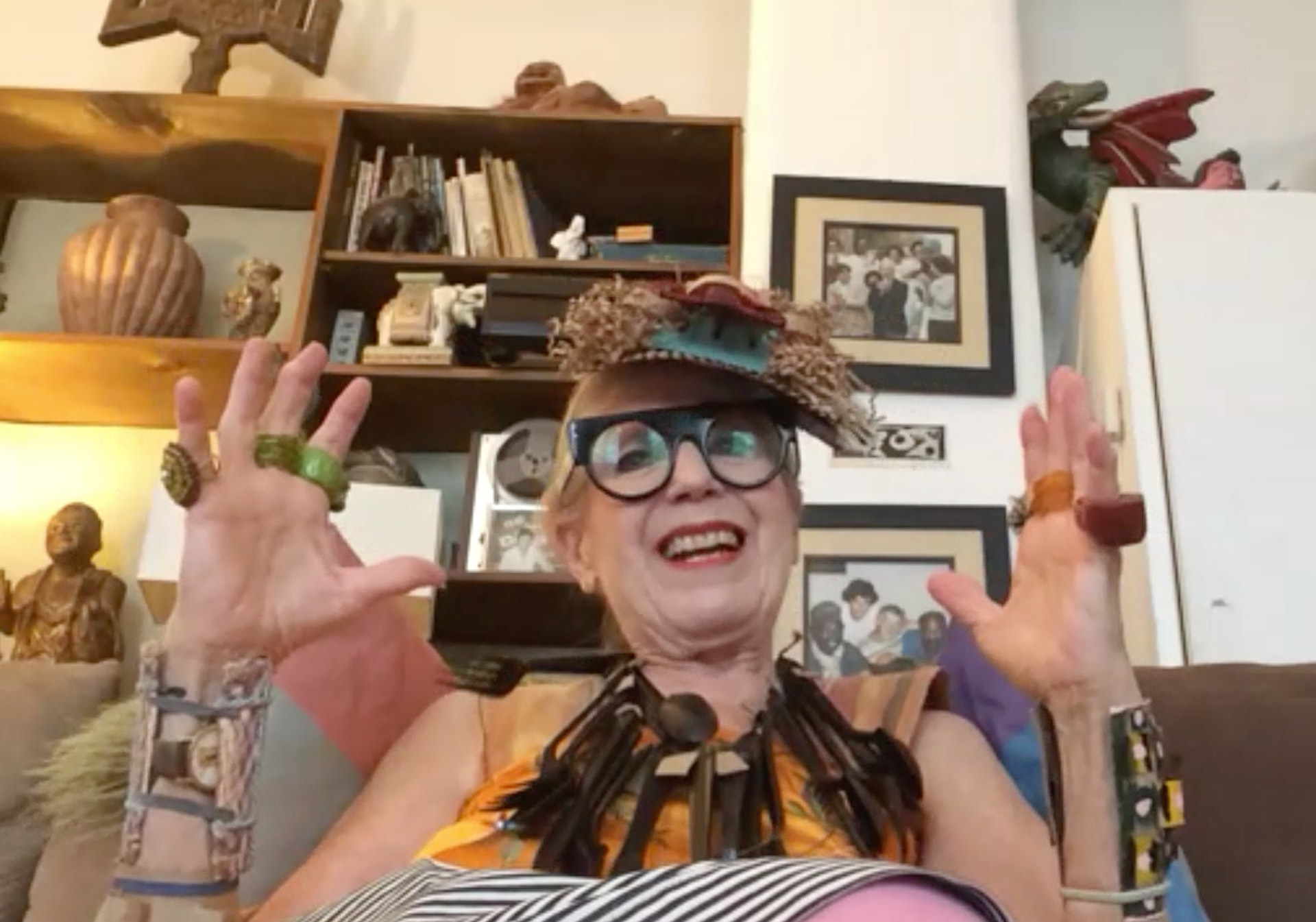 A screenshot of Debra from our conversation on Zoom, wearing her designs.