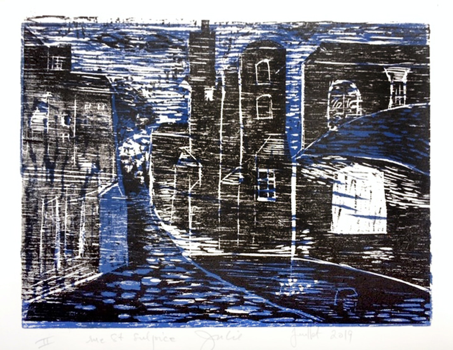 Wood Cut Print made by Julie Duryea during her Printmaking VAWAA with master printmaker Gerard, Paris.
