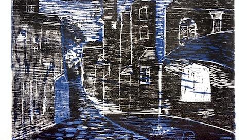 Wood Cut Print made by Julie Duryea during her Printmaking VAWAA with master printmaker Gerard, Paris.