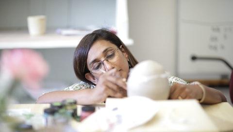 Susy Matthew in the studio of VAWAA artist and Slovenian contemporary ceramics designer Katja. Courtesy of Tit Košir.